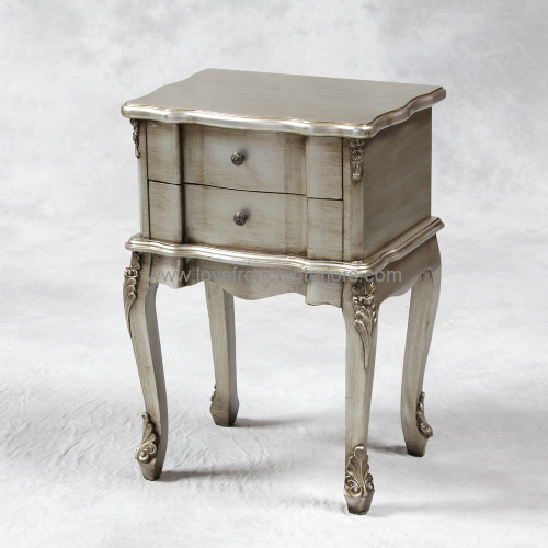 Two Drawer Rectangular Bedside in Antique Silver